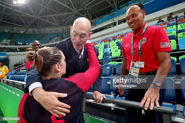 Gold medalist Lindsay Whalen of United States is congratulated by NBA Commissioner Adam Silver after the Women's Basketball competition on Day 15 of...