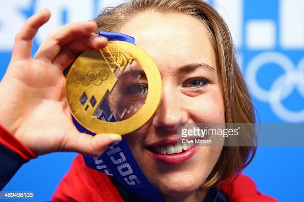 Gold medalist Lizzy Yarnold of Great Britain celebrates during the medal ceremony for the Women's Skelton on day 8 of the Sochi 2014 Winter Olympics...