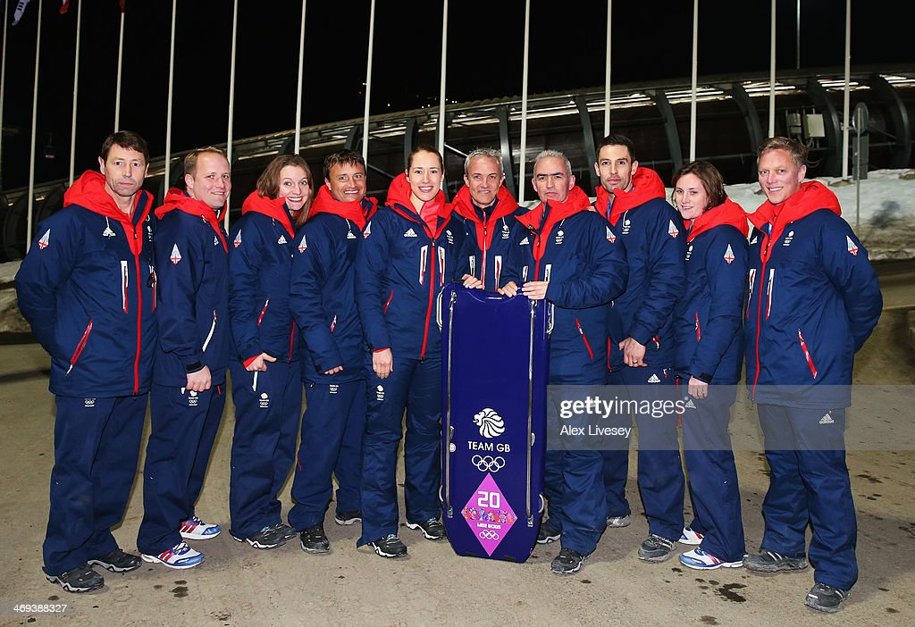 Gold medalist Lizzy Yarnold of Great Britain (5th left) celebrates with the Team GB Skeleton coaching staff after the Women's Skeleton on Day 7 of the Sochi 2014 Winter Olympics at Sliding Center Sanki on February 14, 2014 in Sochi, Russia.