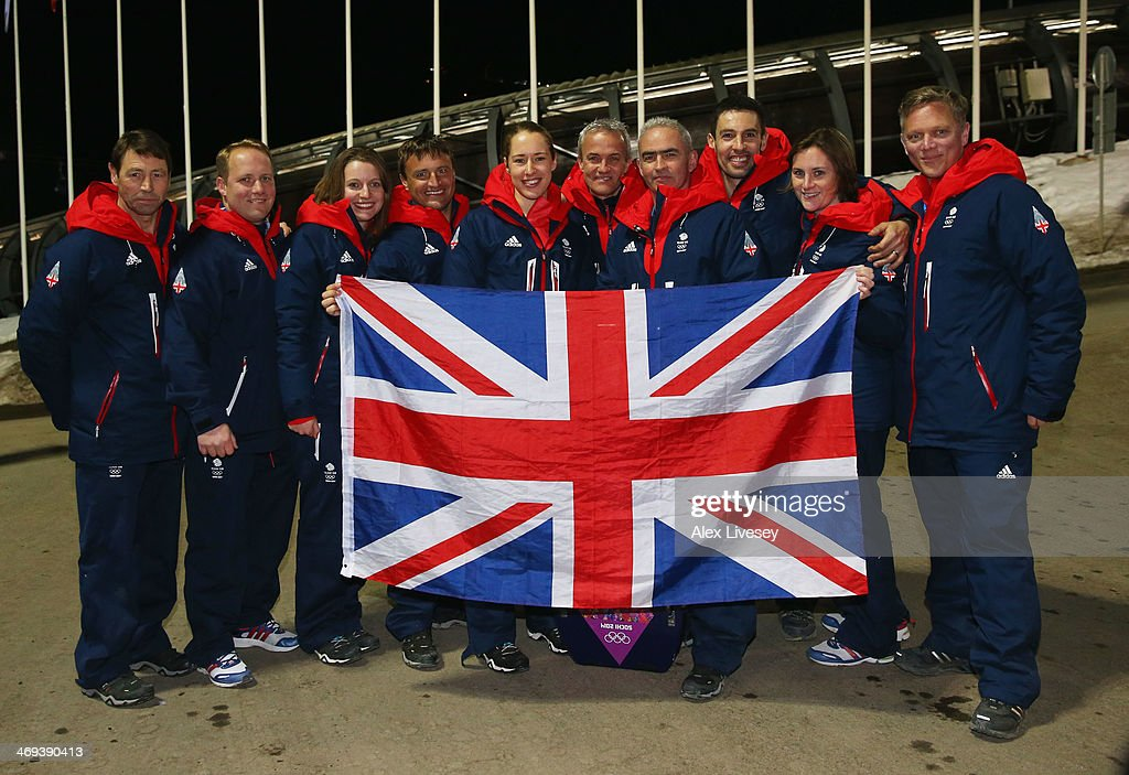 Gold medalist <a gi-track='captionPersonalityLinkClicked' href=/galleries/search?phrase=Lizzy+Yarnold&family=editorial&specificpeople=9514411 ng-click='$event.stopPropagation()'>Lizzy Yarnold</a> of Great Britain (5th left) celebrates with the Team GB Skeleton coaching staff after the Women's Skeleton on Day 7 of the Sochi 2014 Winter Olympics at Sliding Center Sanki on February 14, 2014 in Sochi, Russia.
