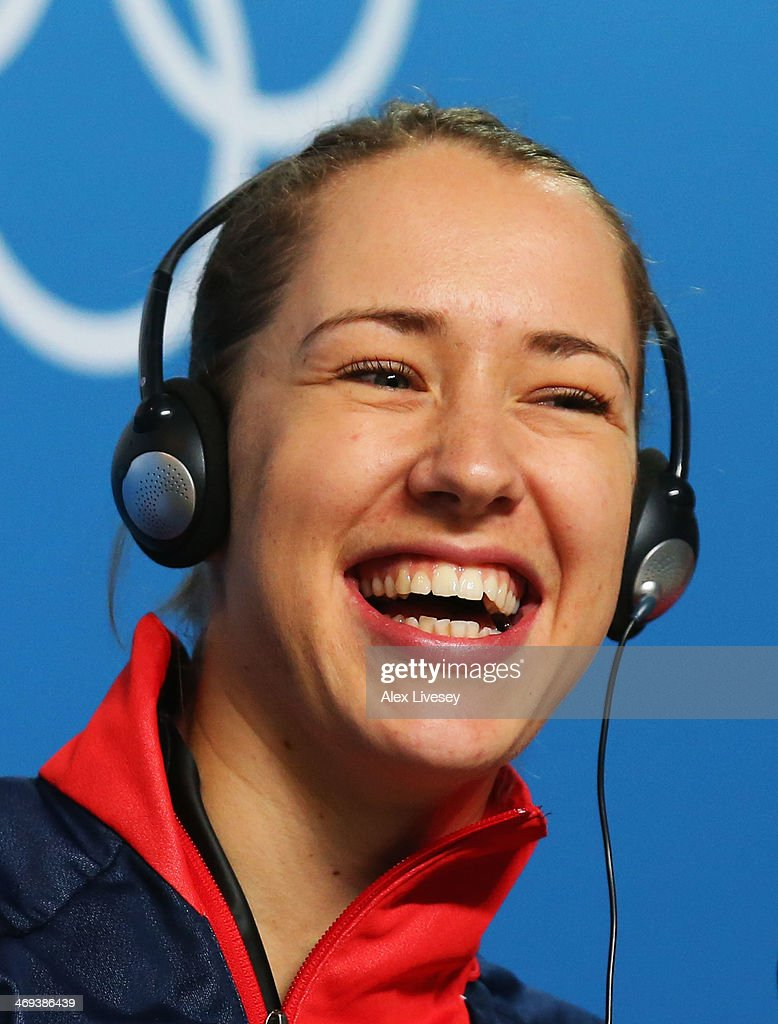 Gold medalist <a gi-track='captionPersonalityLinkClicked' href=/galleries/search?phrase=Lizzy+Yarnold&family=editorial&specificpeople=9514411 ng-click='$event.stopPropagation()'>Lizzy Yarnold</a> of Great Britain laughs during a press conference after the Women's Skeleton on Day 7 of the Sochi 2014 Winter Olympics at Sliding Center Sanki on February 14, 2014 in Sochi, Russia.