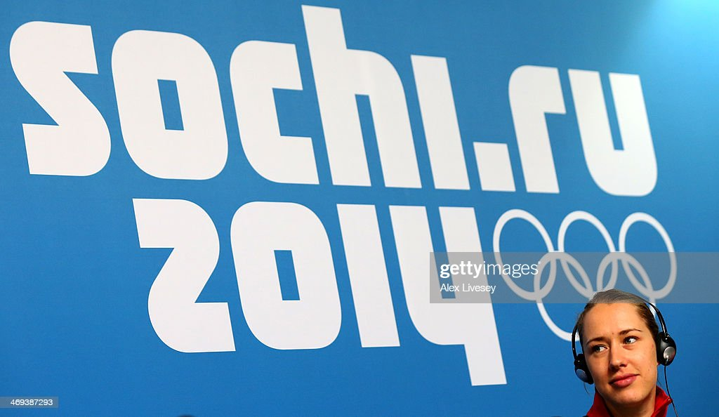 Gold medalist Lizzy Yarnold of Great Britain looks on during a press conference after the Women's Skeleton on Day 7 of the Sochi 2014 Winter Olympics at Sliding Center Sanki on February 14, 2014 in Sochi, Russia.