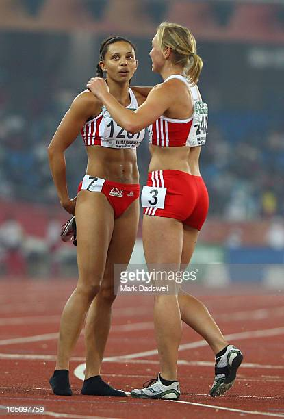 Gold medalist Louise Hazel of England celebrates with bronze medalist Grace Clements of England after competing in the women's heptpathlon at the...