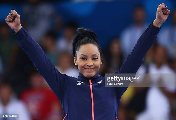 Gold medalist Lucie Ignace of France celebrates during the medal ceremony for the Women's Kumite 61kg day one of the Baku 2015 European Games at...