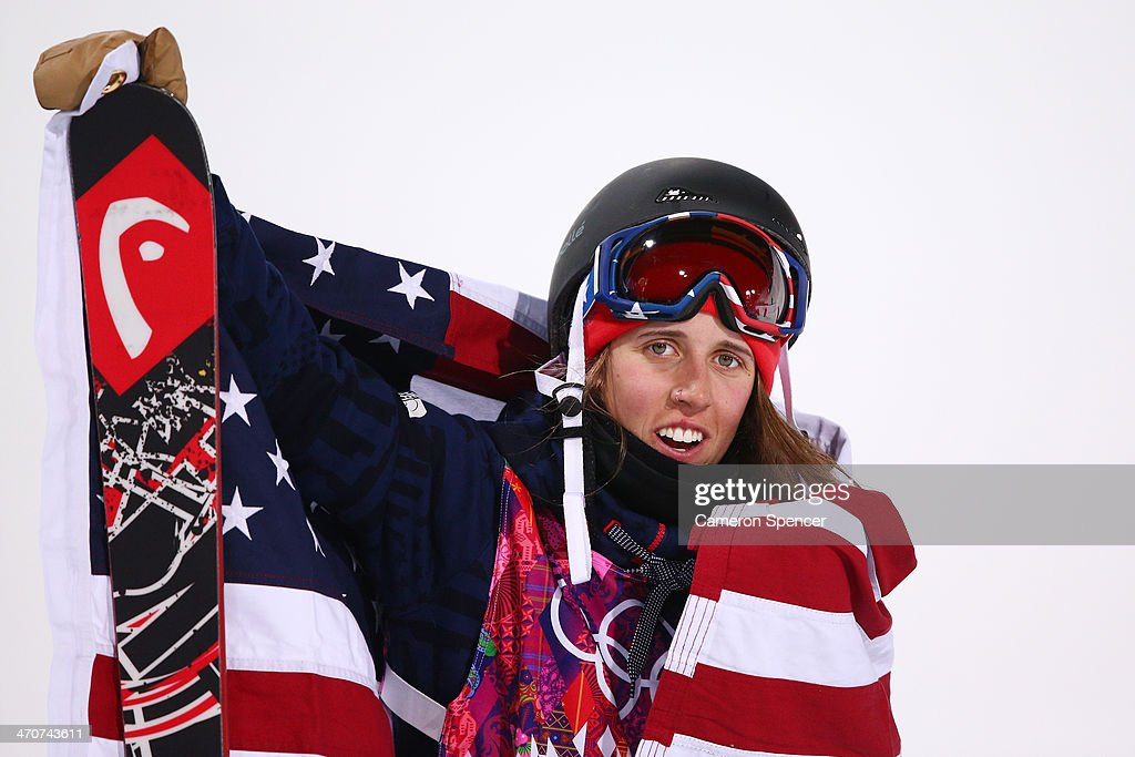 Gold medalist Maddie Bowman of the United States celebrates in the Freestyle Skiing Ladies' Ski Halfpipe Finals on day thirteen of the 2014 Winter Olympics at Rosa Khutor Extreme Park on February 20, 2014 in Sochi, Russia.