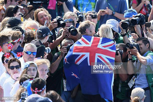 Gold medalist Mahe Drysdale of New Zealand celebrates after the medal ceremony for the Men's Single Sculls on Day 8 of the Rio 2016 Olympic Games at...