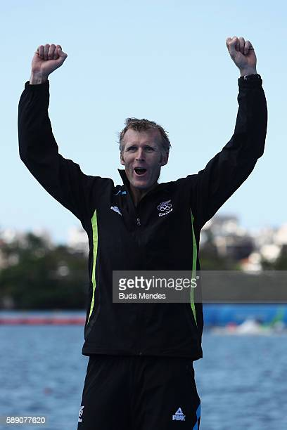 Gold medalist Mahe Drysdale of New Zealand poses on the podium at the medal ceremony for the Men's Single Sculls on Day 8 of the Rio 2016 Olympic...
