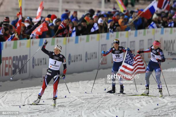 Gold medalist Maiken Caspersen Falla of Norway silver medalist Jessica Diggins of the United States and bronze medalist Kikkan Randall of the United...