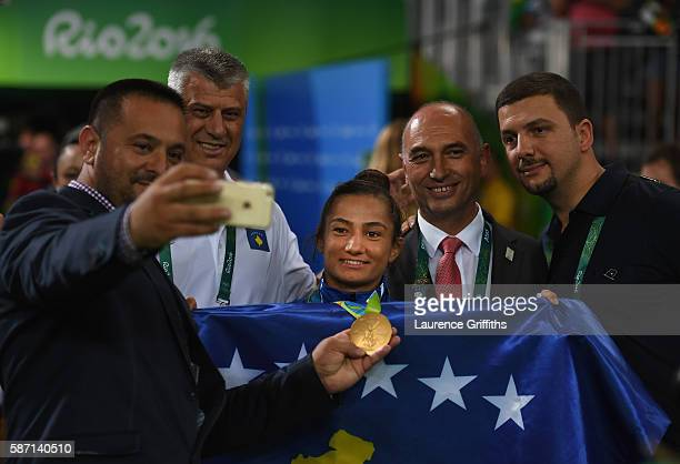 Gold medalist Majlinda Kelmendi is the centre of attention after the medal presentation in the Women's 52kg Judo on Day 2 on Day 2 of the Rio 2016...