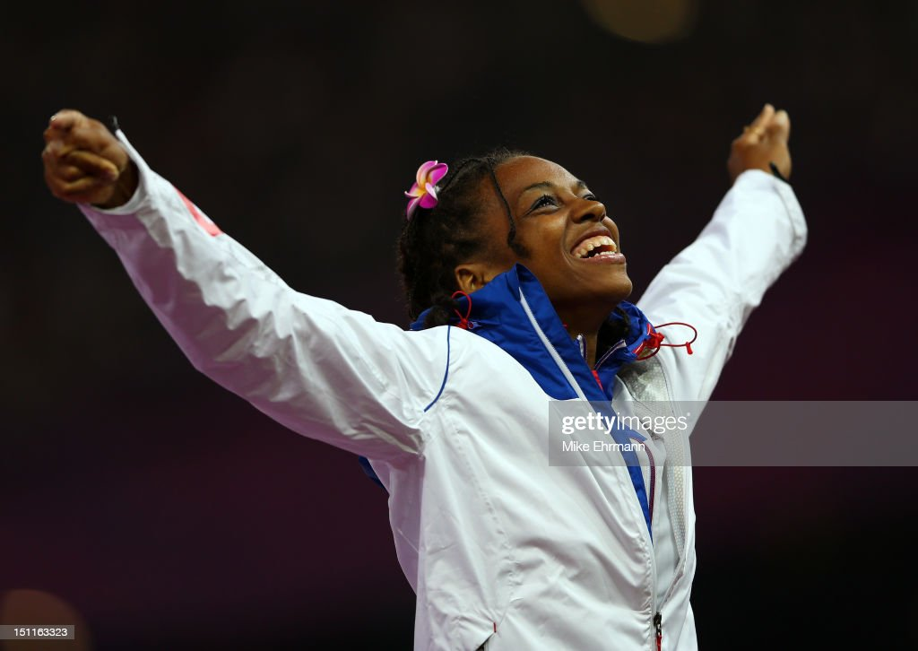 Gold medalist Mandy Franxois Elie of France poses on the podium during the medal ceremony in the Women's 100m - T37 Final on day 4 of the London 2012 Paralympic Games at Olympic Stadium on September 2, 2012 in London, England.