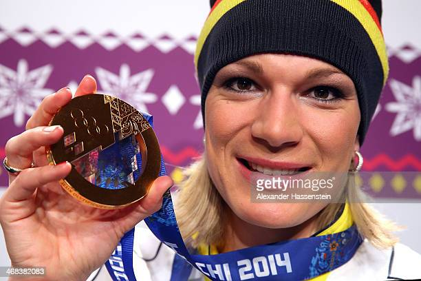 Gold medalist Maria HoeflRiesch of Germany pose with her Gold medal for the Alpine Skiing Women's Super Combined on day 3 of the Sochi 2014 Winter...