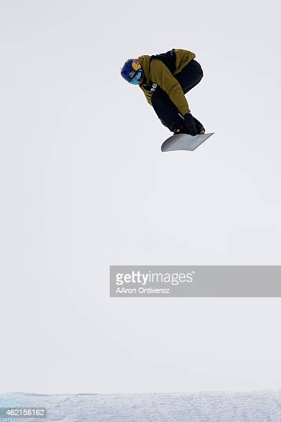 Gold medalist Mark McMorris makes his victory run during the men's snowboard slopestyle final Winter X Games on Sunday January 25 2015