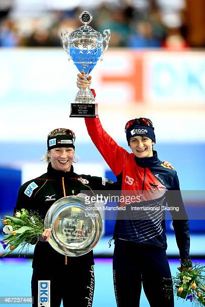 Gold medalist Martina Sablikova of the Czech Republic and Silver medalist Claudia Pechstein of Germany pose for a photo after winning the Women's...