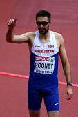Gold medalist Martyn Rooney of Great Britain and Northern Ireland celebrates after the Men's 400 metres final during day four of the 22nd European...