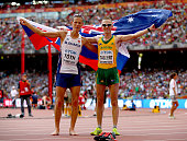 Gold medalist Matej Toth of Slovakia and silver medalist Jared Tallent of Australia celebrate after the Men's 50km Race Walk final during day eight...