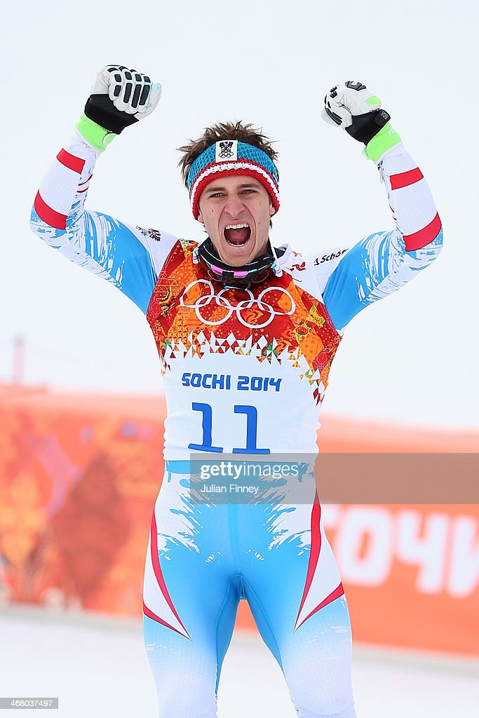 Gold medalist Matthias Mayer of Austria celebrates during the flower ceremony for the Skiing Men's Downhill during the Alpine Men's Downhill on day...