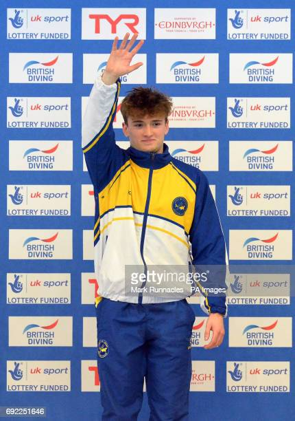 Gold medalist Matty Lee at the medal ceremony for the men's 10m platform final during the British Diving Championships at the Royal Commonwealth Pool...