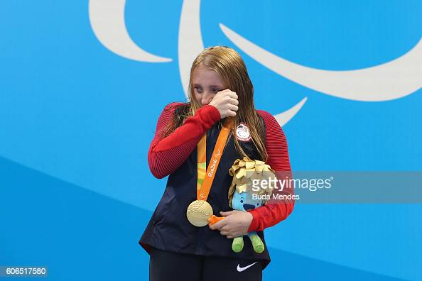 Gold medalist McKenzie Coan of the United States shows her emotion on the podium at the medal ceremony for the Women's 100m Freestyle S7 on day 9 of...
