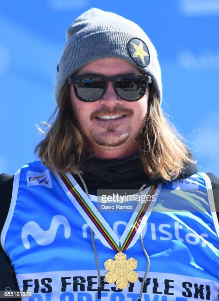 Gold medalist Mcrae Williams of the United States poses during the medal cermony for the Men's Slopestyle final on day twelve of the FIS Freestyle...