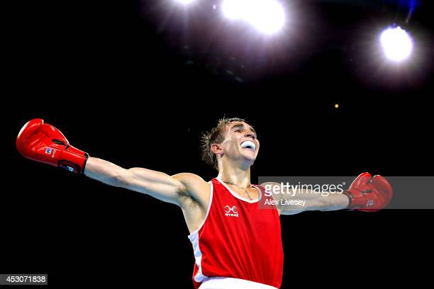 Gold medalist Michael Conlan of Northern Ireland celebrates after the Men's Bantam Final at SSE Hydro during day ten of the Glasgow 2014 Commonwealth...