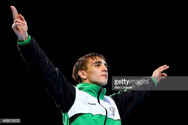 Gold medalist Michael Conlan of Northern Ireland poses during the medal ceremony for the Men's Bantam Final at SSE Hydro during day ten of the...