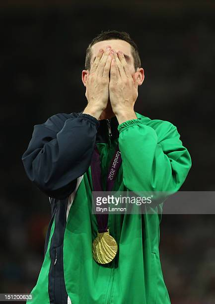 Gold medalist Michael Mckillop of Ireland poses on the podium during the medal ceremony for the Men's 1500m T37 Final on day 5 of the London 2012...