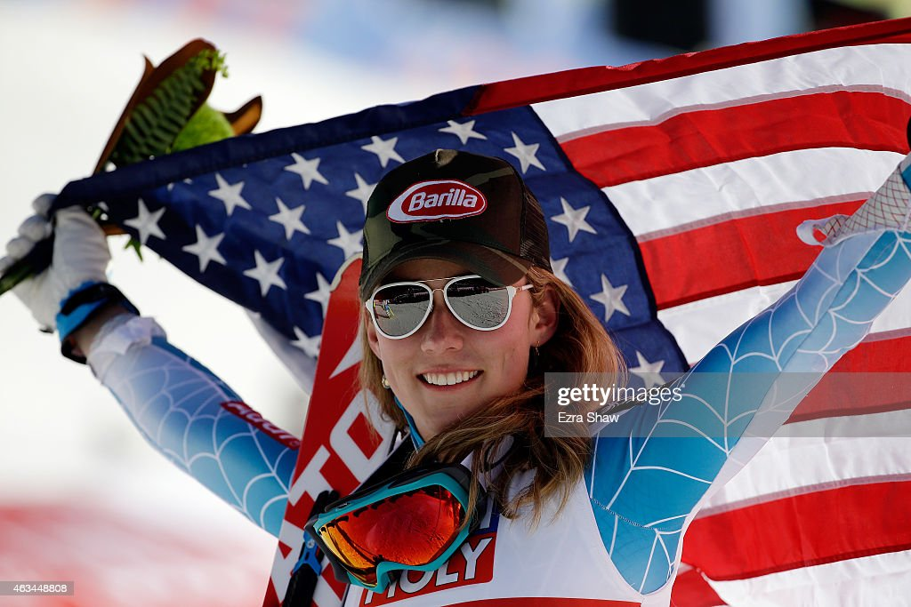 Gold medalist Mikaela Shiffrin of the United States celebrates after the Ladies' Slalom on the Golden Eagle racecourse on Day 13 of the 2015 FIS Alpine World Ski Championships on February 14, 2015 in Beaver Creek, Colorado.