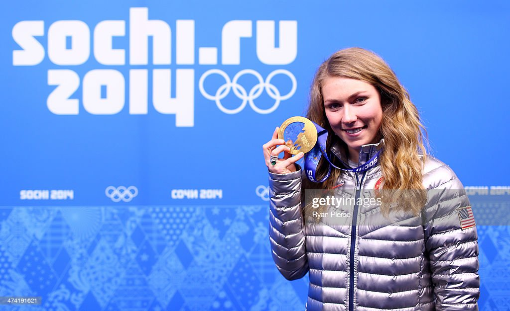 Gold medalist <a gi-track='captionPersonalityLinkClicked' href=/galleries/search?phrase=Mikaela+Shiffrin&family=editorial&specificpeople=7472698 ng-click='$event.stopPropagation()'>Mikaela Shiffrin</a> of the United States celebrates during the medal ceremony for the Women's Slalom on Day 15 of the Sochi 2014 Winter Olympics at Medals Plaza on February 22, 2014 in Sochi, Russia.