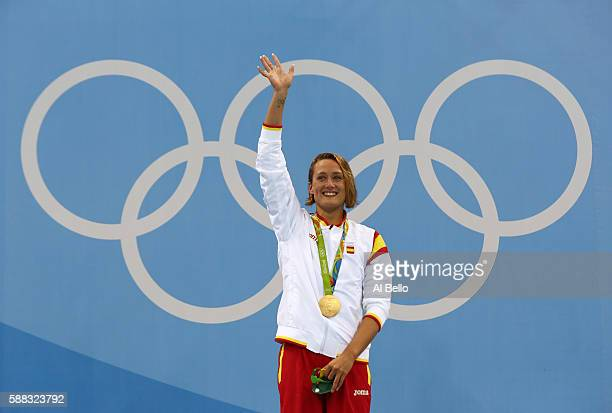 Gold medalist Mireia Belmonte Garcia of Spain poses on the podium during the medal ceremony for the Women's 200m Butterfly Final on Day 5 of the Rio...