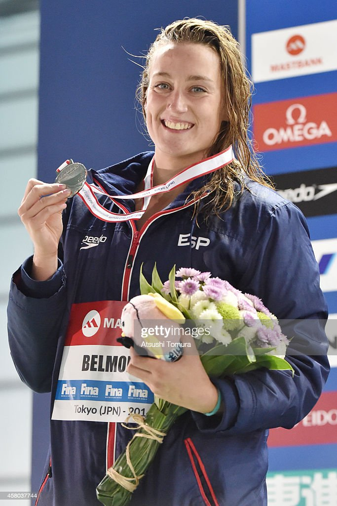 Gold Medalist Mireya Belmonte of Spain celebrates after the Women's 200m Butterfly Final during FINA/MASTBANK Swimming World Cup 2014 at Tokyo Tatsumi International Swimming Pool on October 29, 2014 in Tokyo, Japan.