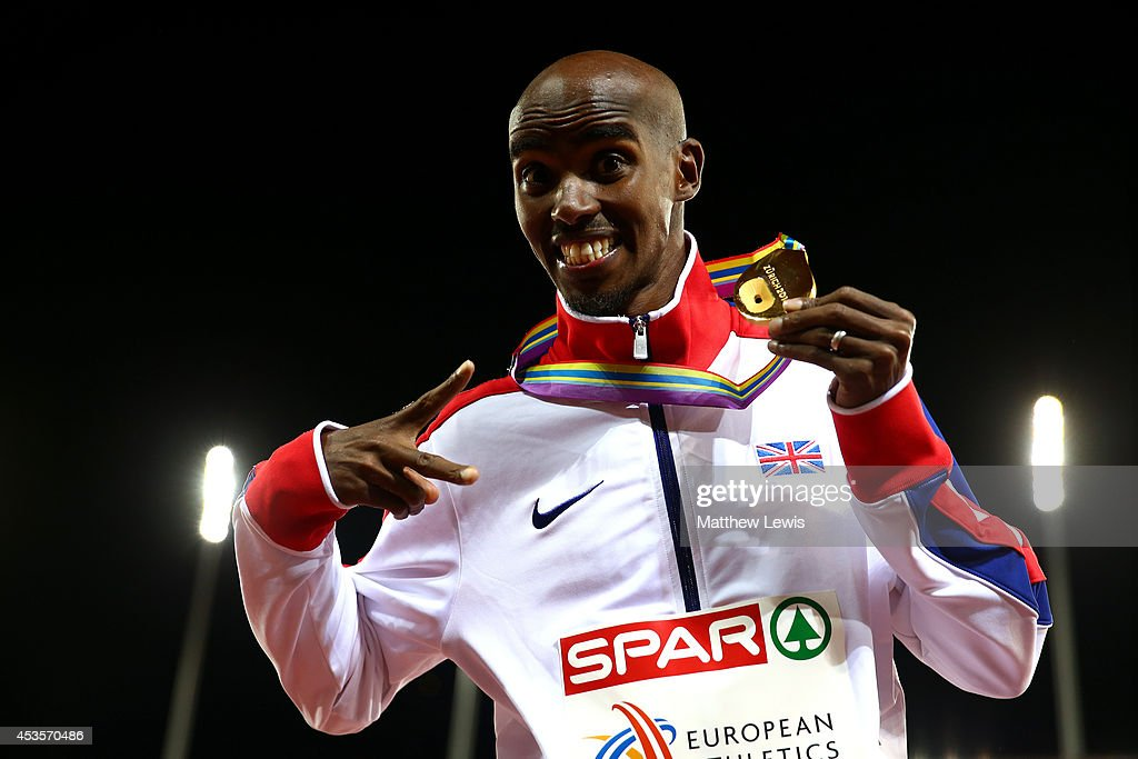 Gold medalist <a gi-track='captionPersonalityLinkClicked' href=/galleries/search?phrase=Mo+Farah&family=editorial&specificpeople=4819130 ng-click='$event.stopPropagation()'>Mo Farah</a> of Great Britain and Northern Ireland poses on the podium during the medal ceremony for the Men's 10,000 metres final during day two of the 22nd European Athletics Championships at Stadium Letzigrund on August 13, 2014 in Zurich, Switzerland.