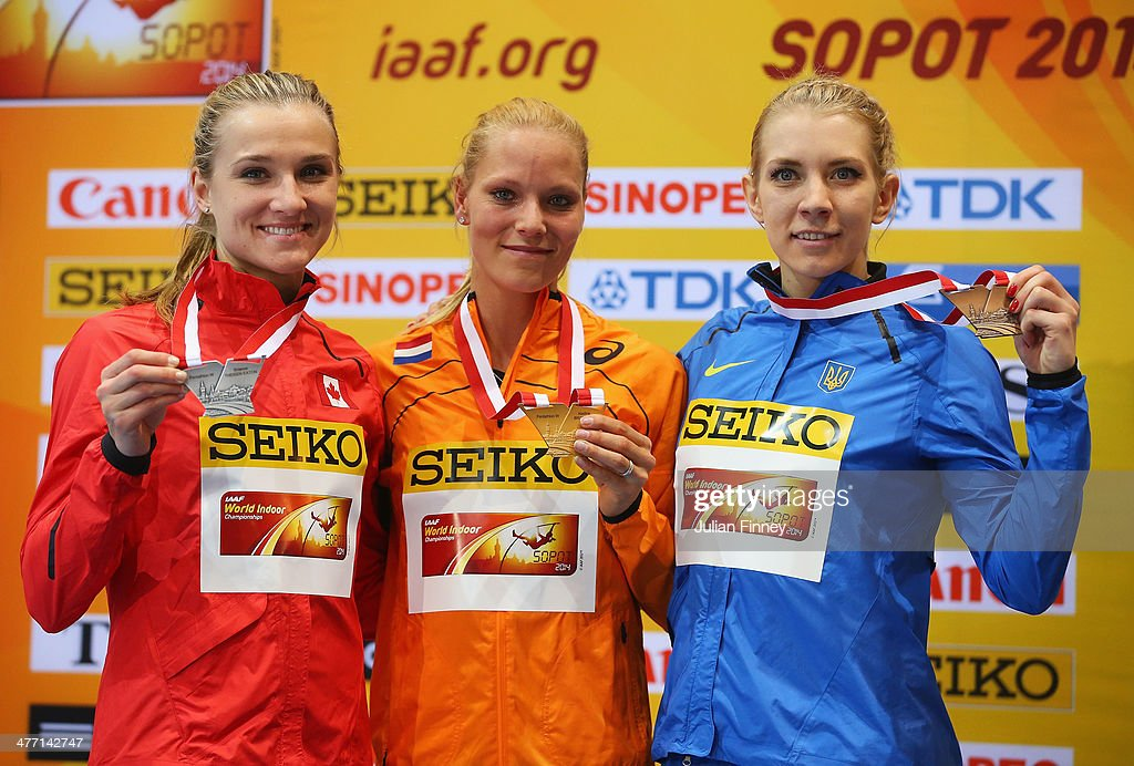 Gold medalist <a gi-track='captionPersonalityLinkClicked' href=/galleries/search?phrase=Nadine+Broersen&family=editorial&specificpeople=9439352 ng-click='$event.stopPropagation()'>Nadine Broersen</a> (C) of Netherlands poses with silver medalist Brianne Theisen Eaton (L) of Canada and bronze medalist Alina Fodorova of the Ukraine in the Women's Pentathlon during day one of the IAAF World Indoor Championships at Ergo Arena on March 7, 2014 in Sopot, Poland.