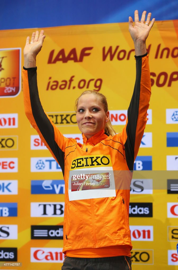 Gold medalist <a gi-track='captionPersonalityLinkClicked' href=/galleries/search?phrase=Nadine+Broersen&family=editorial&specificpeople=9439352 ng-click='$event.stopPropagation()'>Nadine Broersen</a> of Netherlands stands on the podium after the Women's Pentathlon during day one of the IAAF World Indoor Championships at Ergo Arena on March 7, 2014 in Sopot, Poland.