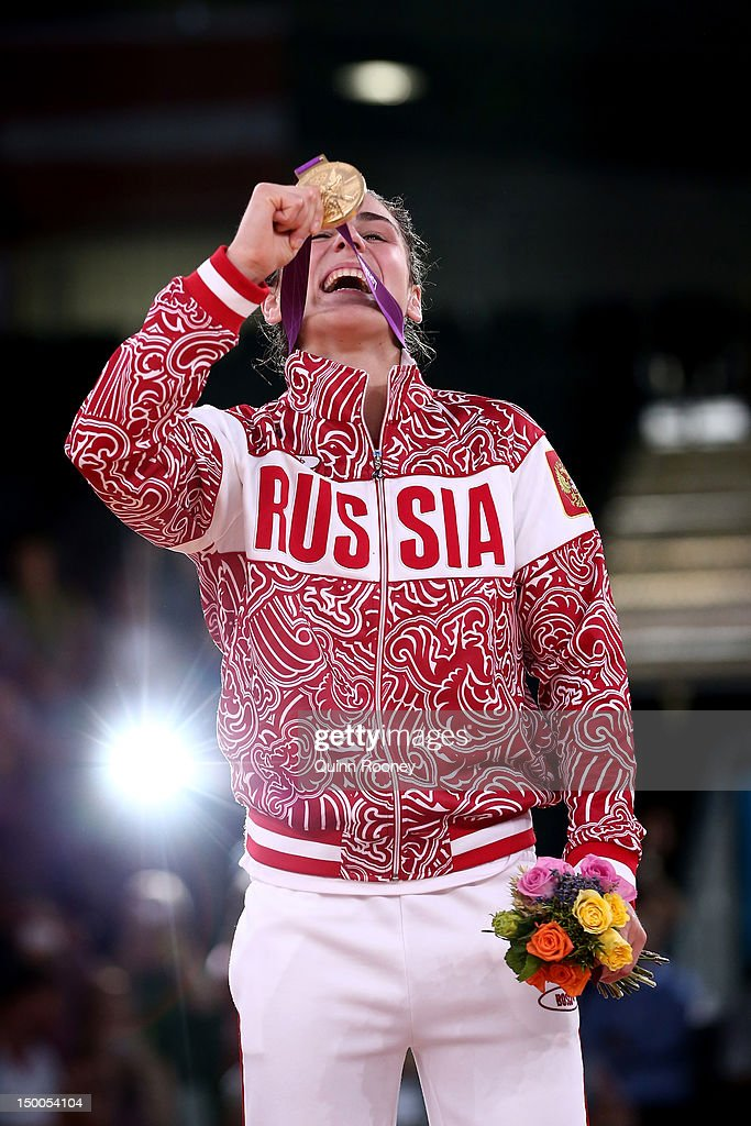 Gold medalist Natalia Vorobeva of Russia celebrates winning the gold medal in the Women's Freestyle 72 kg Wrestling on Day 13 of the London 2012 Olympic Games at ExCeL on August 9, 2012 in London, England.
