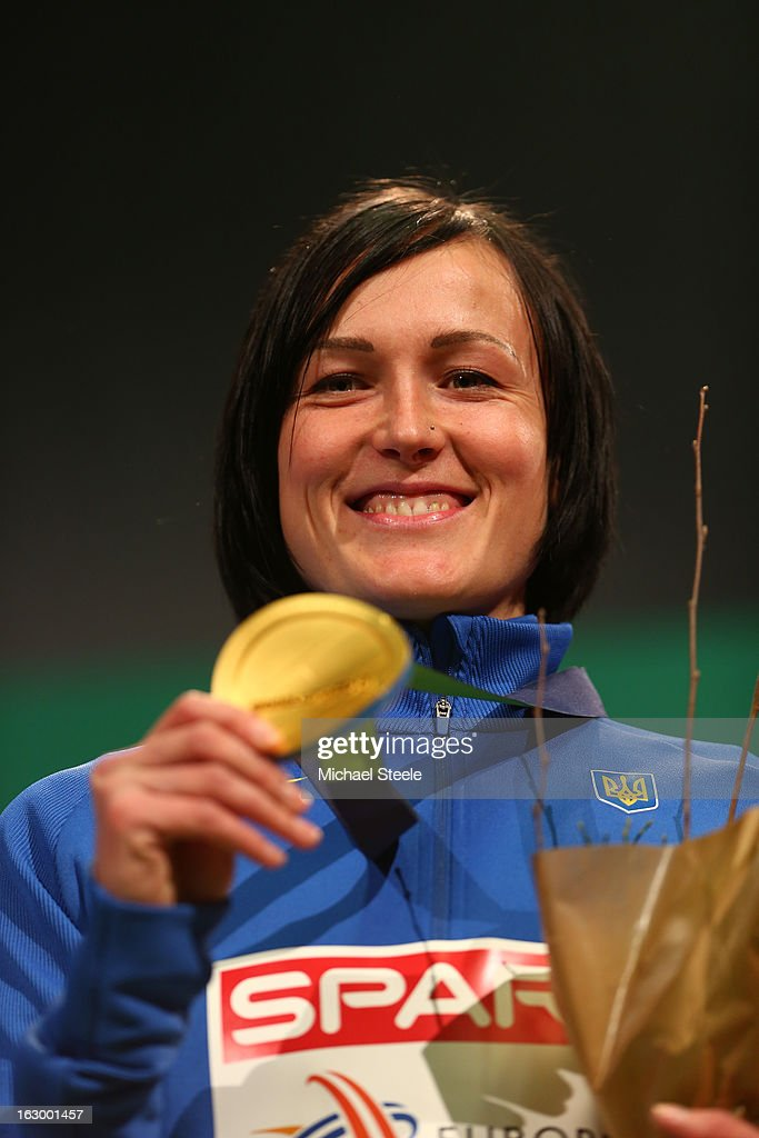 Gold medalist Nataliya Lupu of Ukraine poses during the victory ceremony for the Women's 800m during day three of European Indoor Athletics at Scandinavium on March 3, 2013 in Gothenburg, Sweden.