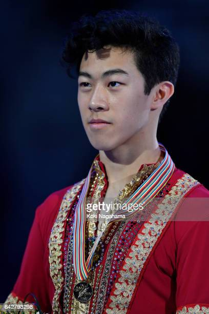 Gold medalist Nathan Chen of United States poses after the medal ceremony of the men's skating during ISU Four Continents Figure Skating...