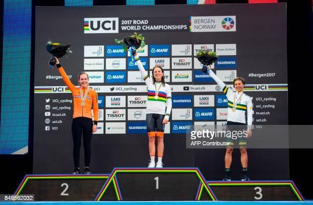 Gold medalist Netherland's Annemiek Van Vleuten silver medalist Netherland's Anna Van Der Breggen and bronze medalist Australia's Katrin Garfoot...