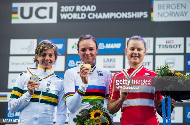 Gold medalist Netherlands' Chantal Blaak silver medalist Australia's Katrin Garfoot and Denmark's Amalie Dideriksen pose with their medals after the...