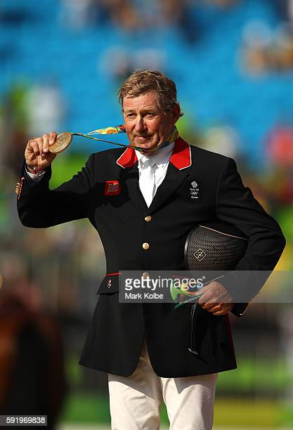Gold medalist Nick Skelton of Great Britain riding Big Star celerates after the Equestrian Jumping Individual Final Round on Day 14 of the Rio 2016...