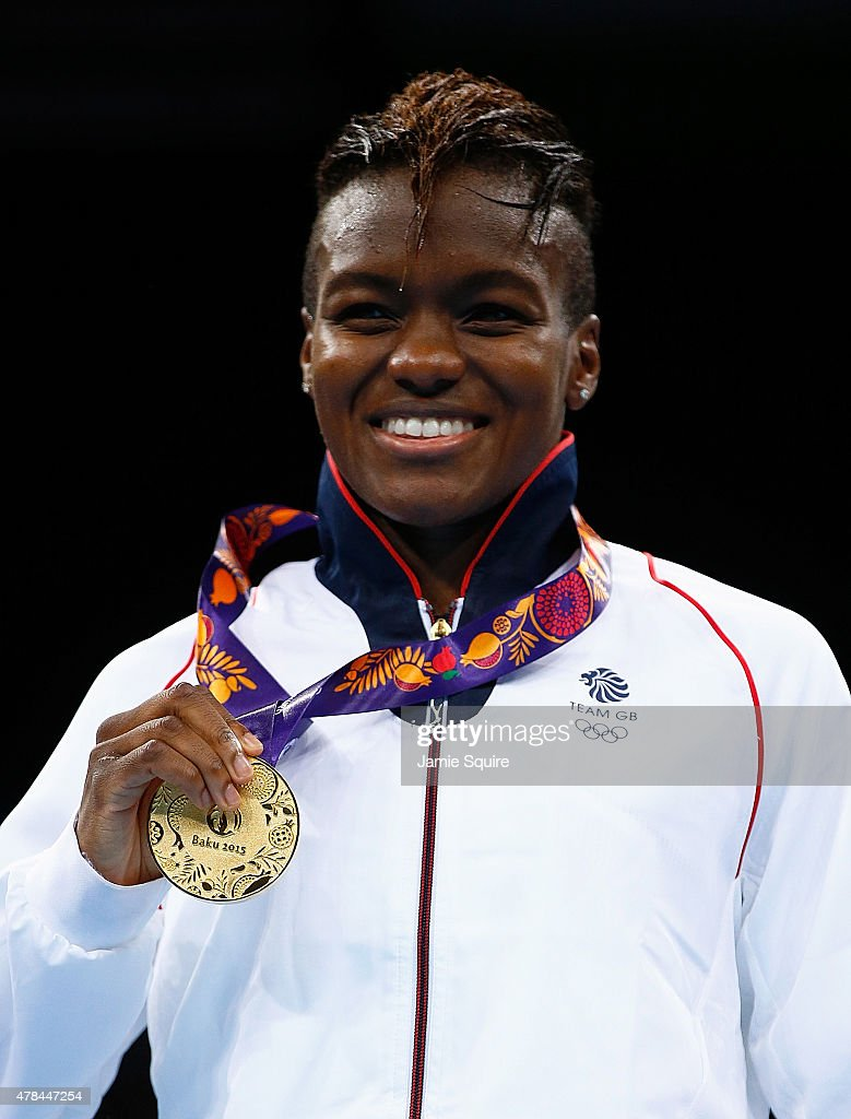 Gold medalist Nicola Adams of Great Britain stands on the podium during the medal ceremony for the Women's Flyweight 4851kg final on day thirteen of...