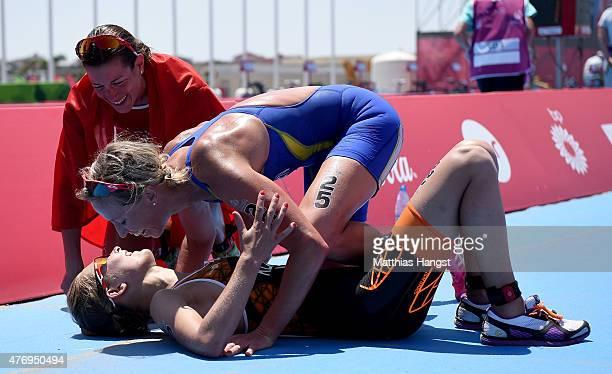 Gold medalist Nicola Spirig of Switzerland Silver medalist Rachel Klamer of Netherlands and bronze medalist Lisa Norden of Sweden celebrate following...