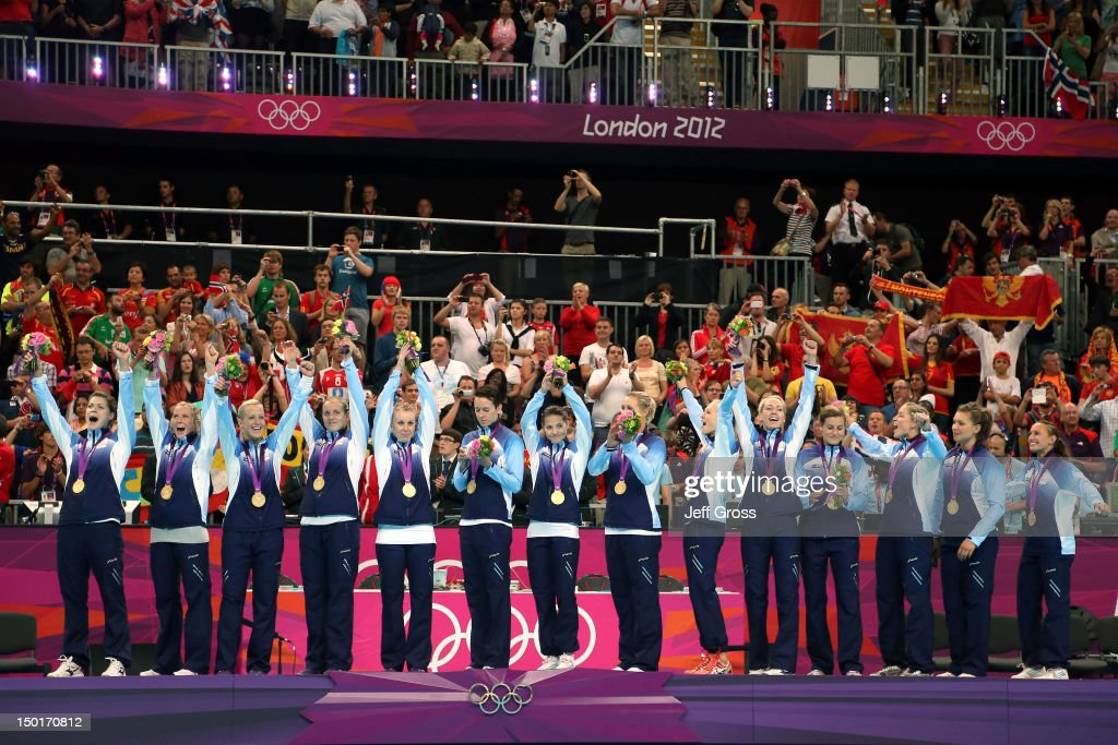 Gold medalist Norway pose on the podium during the medal ceremony for the Women's Handball Final on Day 15 of the London 2012 Olympics Games at Basketball Arena on August 11, 2012 in London, England.