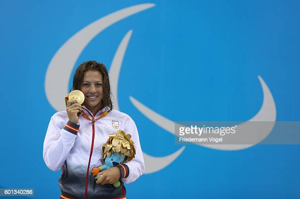 Gold medalist Nuria Marques Soto of Spain celebrates on the podium at the medal ceremony for the Women's 400m Freestyle S9 on day 2 of the Rio 2016...