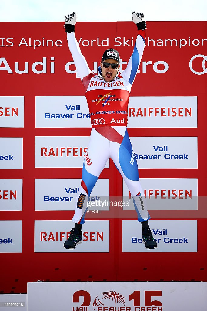 Gold medalist Patrick Kueng of Switzerland celebrates on the podium after the finish of the Men's Downhill in Red Tail Stadium on Day 6 of the 2015 FIS Alpine World Ski Championships on February 7, 2015 in Beaver Creek, Colorado.