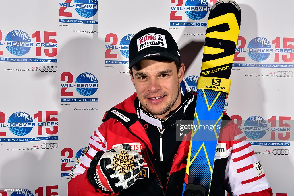 Gold medalist Patrick Kueng of Switzerland poses following the finish of the Men's Downhill in Red Tail Stadium on Day 6 of the 2015 FIS Alpine World Ski Championships on February 7, 2015 in Beaver Creek, Colorado.