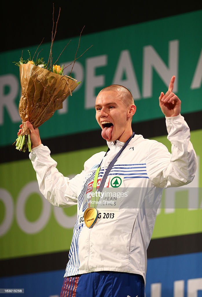 Gold medalist Pavel Maslak of Czech Republic poses during the victory ceremony for the Men's 400m during day three of European Indoor Athletics at Scandinavium on March 3, 2013 in Gothenburg, Sweden.