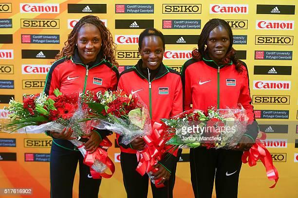 Gold medalist Peres Jepchirchir of Kenya Silver medalist Cynthia Jerotich Limo of Kenya and Bronze medalist Mary Wacera Ngugi of Kenya after winning...