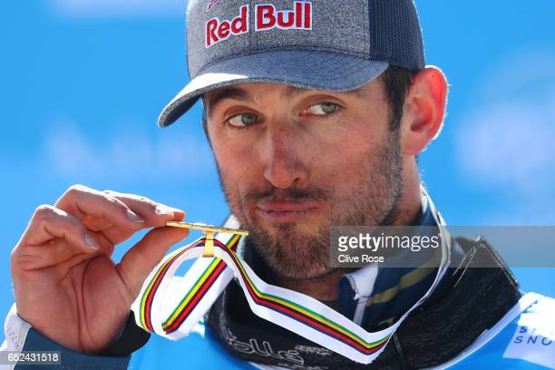 Gold medalist Pierre Vaultier of France poses during the medal ceremony for the Men's Snowboard Cross on day five of the FIS Freestyle Ski Snowboard...