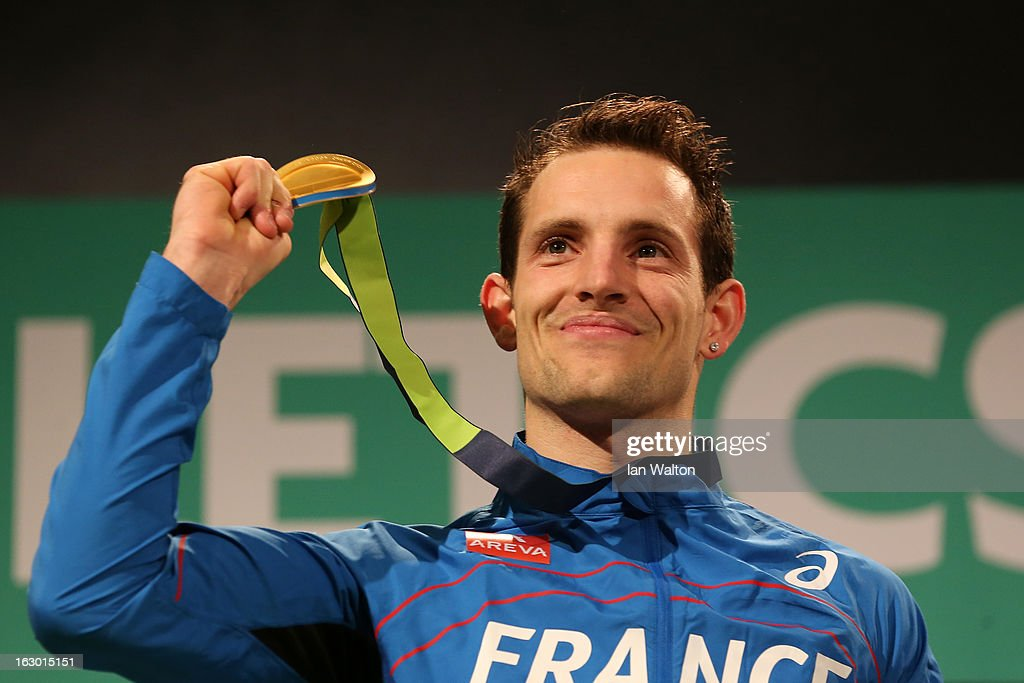Gold medalist <a gi-track='captionPersonalityLinkClicked' href=/galleries/search?phrase=Renaud+Lavillenie&family=editorial&specificpeople=4955096 ng-click='$event.stopPropagation()'>Renaud Lavillenie</a> of France pose during the victory ceremony for the Men's Pole Vault during day three of European Indoor Athletics at Scandinavium on March 3, 2013 in Gothenburg, Sweden.