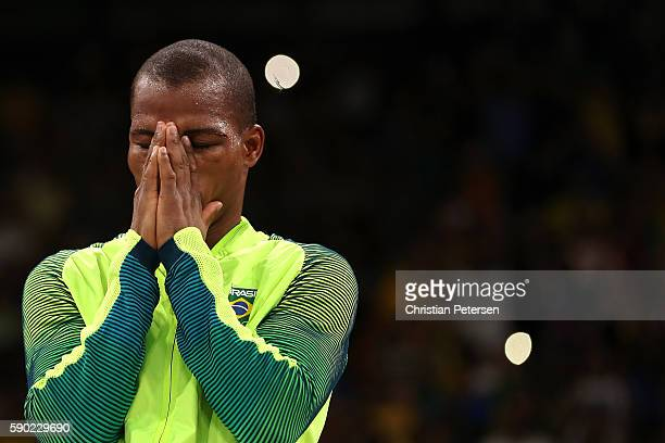 Gold medalist Robson Conceicao of Brazil celebrates on the podium during the medal ceremony for the Men's Light boxing event on Day 11 of the Rio...